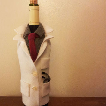 Wine Bottle Sleeve for Medical School Graduation - Lab Coat
