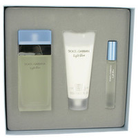 Light Blue by Dolce & Gabbana Gift Set -- 3.3 oz Eau De Toilette Spray + 3.3 oz Body Cream + .25 oz Mini EDT Spray (Women)