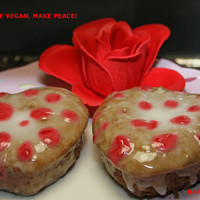 Vegan Gluten free Vanilla donuts with vanilla glaze and raspberry dots , love,healthy,gluten free ingredients,dessert,wedding,birthday.