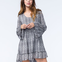 Sea Gypsies Mia Rose Womens Bell Sleeve Dress Charcoal  In Sizes