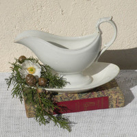 French antique sauce boat gravy boat, antique gravy boat, Creil et Montereau, shabby chic, country home, country cottage, white ironstone