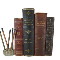 Antique Leather Books, S/4