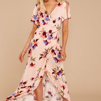 Happened To Be Peach Floral Print Wrap Dress