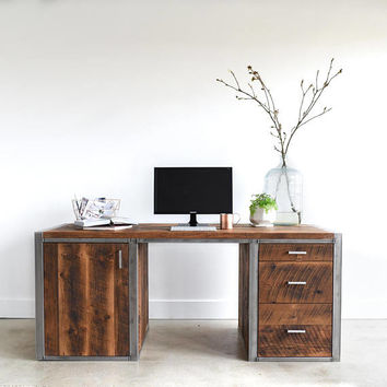 Large Desk made from Reclaimed Wood + Steel / Built in Filing + Printer Station