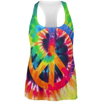 Chenier Peace Sign Tie Dye All Over Womens Work Out Tank Top