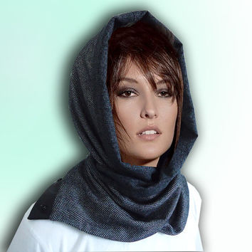 Multifunctional Gray and Black Men Women Unisex soft WOOL Cozy Scarf Cowl Hood with natural leather and snaps