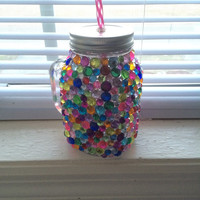 Colorful Rhinestone Mason Jar Glass Mug/Cup