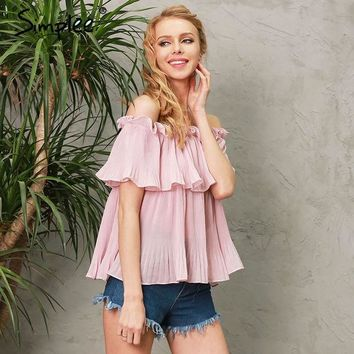 DCCKO03T Off shoulder ruffle chiffon blouse shirt Casual loose pleated short sleeve shirt women tops Summer beach white bluasa