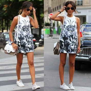 Women Fashion Sleeveless Floral Print Short Dress