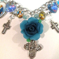 Christian Religious Bracelet w/ Saint Therese, Lady of Grace , Crosses, Crystal Angels and Crystal Hearts
