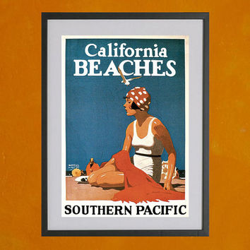 California Beaches, 1923 - 8.5x11 Poster Print - also available in 13x19 - see listing details