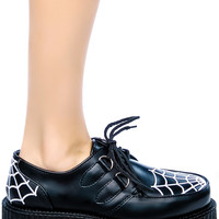 Demonia Spider Web Embroidered Creepers Black/White