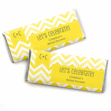 Chevron Yellow - Personalized Bridal Shower Candy Bar Wrapper Favors