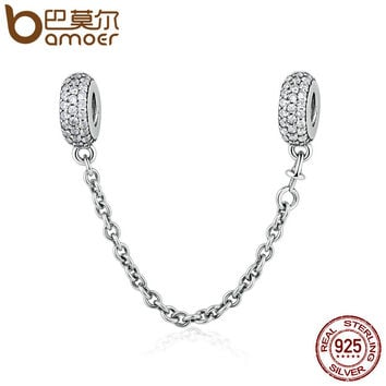 BAMOER 100% 925 Sterling Silver Pave Inspiration Safety Chain, Clear CZ Stopper Charms fit BME Bracelet DIY Jewelry PSC011