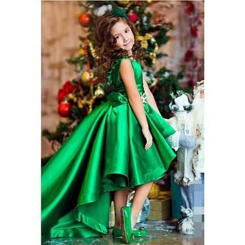 Unique Hi-lo Girls Pageant Dresses Green Satin Communion Dress High Neck Little Kids Flower Girls Gowns For Wedding