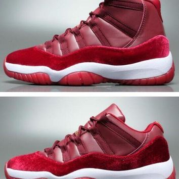 Air Jordan Retro 11 Velvet Heiress Night Maroon Men Women Basket ed1b0d5e2
