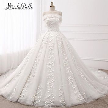 modabelle Lace Flowers Modest Wedding Dress Long Tail Tulle Princess Floral Abiti Da Sposa Ball Gown Bridal Dresses 2018 Newest