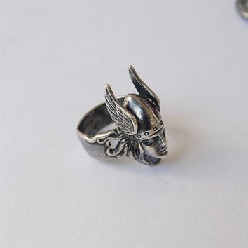 Silver plated brass Valkyrie Ring Size 7 Viking Celtic Nordic Jewelry