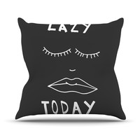 "Vasare Nar ""Lazy Today Grey"" Typography Gray Outdoor Throw Pillow"