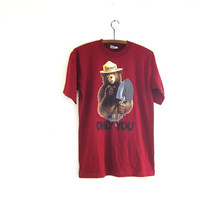 vintage Smokey the Bear tshirt. burgandy tee shirt. novelty tee shirt