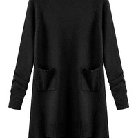 Black Long Sleeve Sweater Dress with Pocket