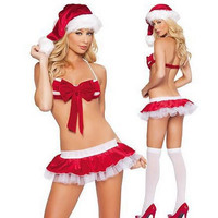 New Fashion Red Sexy Christmas Costumes Three-point Bikini Costumes Sexy Hot Erotic Pole Dance Clothes Deguisement Adultes CE307