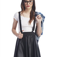 Faux Leather Suspender Skater Skirt | Wet Seal