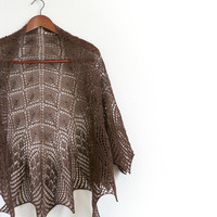 Knit shawl, lace shawl in coffee color, gift for her (22 colors available)