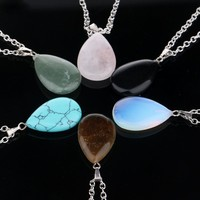 Natural Stone Quartz Crystal Waterdrop Pendant ~Necklace