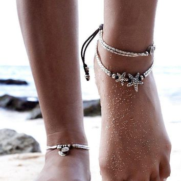 Vintage Double Beaded Starfish Anklet