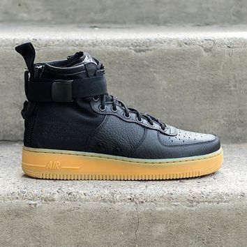 spbest NIKE - Men - SF Air Force 1 Mid - Black/Gum