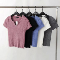 Contracted v collar polo T-shirt short paragraph render unlined upper garment sweater