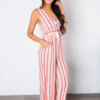 Ivory/Rust Striped Jumpsuit