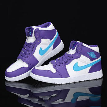 Nike Air Jordan Retro 1 High Tops Contrast Sports shoes Purple Blue hook G-CSXY