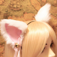 White inner Pink CAT MOVABLE ears HEADBAND, w or w/o Ribbon n Bell, kitty cat ears headband hairband , Cosplay Costume Party Halloween