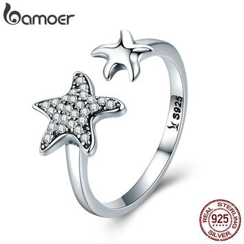 BAMOER 100% 925 Sterling Silver Star Sparkling Crystal CZ  Ring
