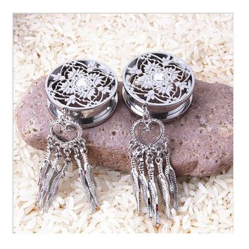 316L Stainless Steel Dream Catcher Dangle Screw Ear Plug Gauge Tunnel Ear Expander  Body Piercing Jewelry
