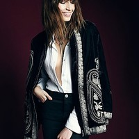 Free People Womens Embroidered Velvet Coat - Black