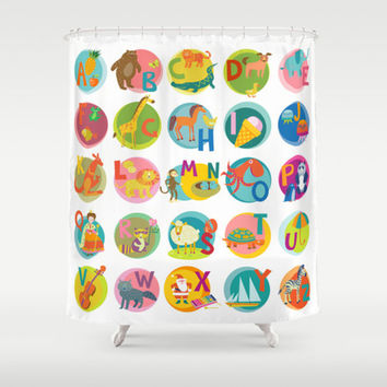 CUSTOM Kids Shower Curtain,Children Alphabet Art,Animals Art Decor,Multiple colors,Bathroom Decor,Kids Art,Standard Size/XL,Printed in USA