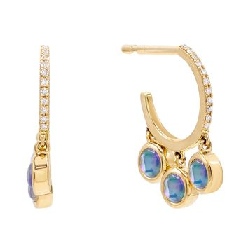 Diamond Opal Dangle Stud Earring 14K