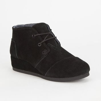 Toms Girls Desert Wedge Boots Black  In Sizes