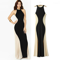 Halter Sleeveless Bodycon Fishtail Maxi Dress