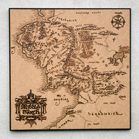 Middle Earth pyrography art The Lord of the Rings inspired Map