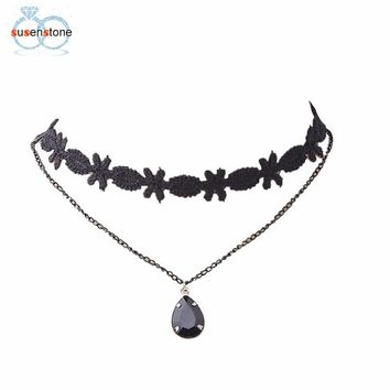 SUSENSTONE Lace Tassel Necklace Women's Fashion Black Chain Pendant Choker Bib Collar Necklaces