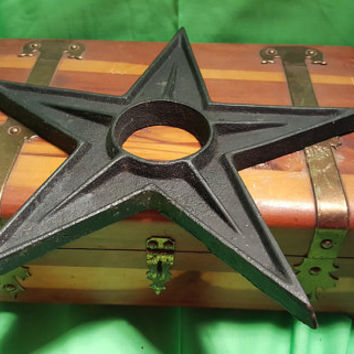 Black Antique Vintage Cast Iron Architectural Industrial Heavy 5 point Star Washer - 10 inch star