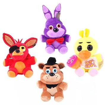 NEW 4pcs/set  At Freddy  Fox Bear Bonnie Toys Plush Pendants Keychains Dolls Gift for Kids 15cm Peluche Anime