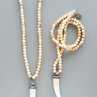 White Beaded Horn Pendant Necklace