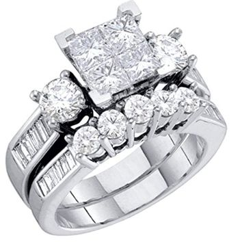 2pc Diamond Bridal Set 10K White Gold Engagement Set with Princess Cut