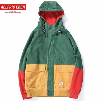 Trendy Aelfric Eden Hip Hop Hooded Jacket Men Autumn Winter Corduroy Bomber Jackets Coats Color Block 2018 Harajuku Casual Outwear UR28 AT_94_13