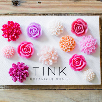 Pretty Decorative Flower Thumbtacks - Set of 12 -  Betta: Hot Pink/Purple/Coral/Pale Pink, Hostess Gift